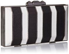 Amazon.com: BCBG Estela Striped Metal Hard Clutch, Black/White, One Size: Clothing