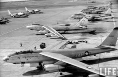 B-47 jet bombers on field, at MacDill Air Force Base |