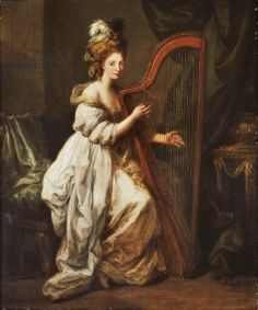 Portrait of Elizabeth Ewer, full-length, seated in a White Dress with a Yellow Shawl, Playing a Harp, in an Interior, c.1768-73 (oil on canv...