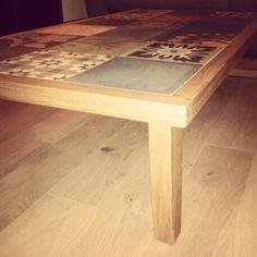 table basse en inox et carreaux de ciment mobilier. Black Bedroom Furniture Sets. Home Design Ideas