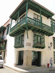 Cartagena de Indias, Colombia Arquitectura colonial Spanish Revival, Spanish Colonial, Spanish Style, Traditional Doors, Traditional House, Bolivia, Costa Rica, Zoo Architecture, Estilo Colonial