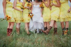 Yellow bridesmaid dresses with cowboy boots.