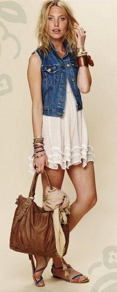 White dress + Denim vest