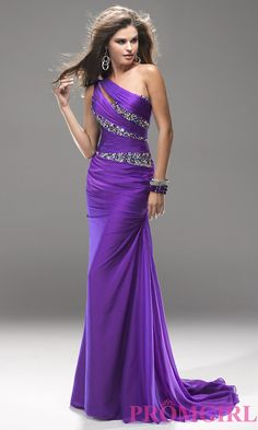 One Shoulder Gown, Long One Shoulder Dress- PromGirl