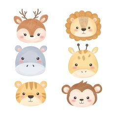 cute watercolor animal faces for decoration - Buy this stock vector and explore similar vectors at Adobe Stock Animal Heads, Animal Faces, Baby Doodle, Animal Drawings, Cute Drawings, Cartoon Mignon, Baby Poster, Baby Elefant, Watercolor Animals