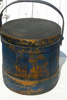 You have to love the teal blue and gold patina on this 19c. firkin!