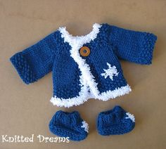 Items similar to Waldorf doll Winter Clothes set of two : Hand Knitted Blue Jacket Sweater Coat and socks with snowflakes. on Etsy Sweater Coats, Sweater Jacket, Sweaters, Winter Clothes, Winter Outfits, Outfit Sets, Hand Knitting, Dolls, Trending Outfits