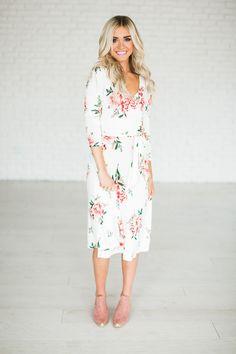 Rose Wrap Midi Dress - Ivory {limited}