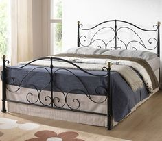 LPD Furniture Oxford Metal Kingsize Bed, In Black | Home Discount