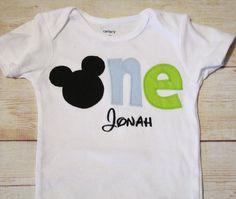 """Baby Mickey Mouse Inspired """"One"""" Shirt for 1st Birthdays - Boy Birthday Outfit - Made To Match Party Decor"""