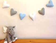 *Blue, Grey and White Heart Felt Garland* A perfect addition to any room - home and nursery decor! Also a great baby shower or birthday gift! Lovely gift for a newborn baby boy!!! https://www.etsy.com/shop/FluffedNStuffed