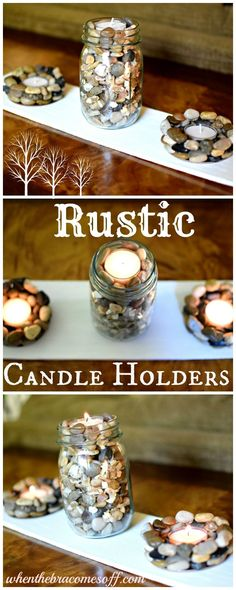 Are you decorating with primitive rustic country decor? This is an easy DIY for your home with tealight candle holders.