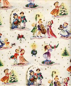 Mid- century gift wrap featuring children ( The inspiration for blackboard decorations) Vintage Christmas Wrapping Paper, Retro Christmas Decorations, Vintage Christmas Images, Christmas Gift Wrapping, Vintage Holiday, Christmas Pictures, Vintage Paper, Christmas Themes, Illustration Noel