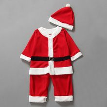 Baby Kid Boys Romper + Hat Cute Santa Clothing Set Cute Christmas Costume Outfit(China (Mainland))
