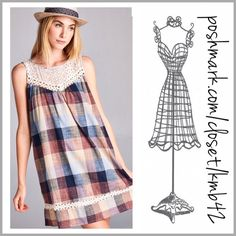 Prairie Girl Plaid Shift Mini Dress Get this darling look! Plaid prairie shift mini dress with crochet lace yoke and trim. Fabulous array of hued colors blue, yellow, beige, wine and rust. Made of a cotton blend. Size S, M, L pair with leggings or wear as a mini dress Threads & Trends Dresses Mini