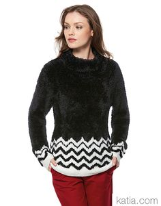 Book Woman Urban 95 Autumn / Winter | 37: Woman Sweater | Black / Off-white Black Sweaters, Sweaters For Women, Fall Winter, Autumn, Chevron, Turtle Neck, Urban, Pullover, Black And White