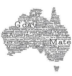 Australia map made from australian slang words in vector - by lifeofriley on VectorStock® Happy Australia Day, Australia Funny, Australia Map, Brisbane, Melbourne, Sydney, Perth, Australian Slang, Australian Bbq