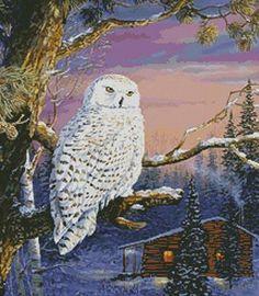 CROSS STITCH CHART WINTER WOODLAND SAMPLER CHART SNOW FOX OWL BIRD SCENE