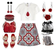 """""""Red and grey"""" by lovelyluella ❤ liked on Polyvore featuring moda, Motel, Calvin Klein, Manolo Blahnik, Neil Barrett, Gianvito Rossi, Carianne Moore, Marni, Bling Jewelry i Liz Claiborne"""