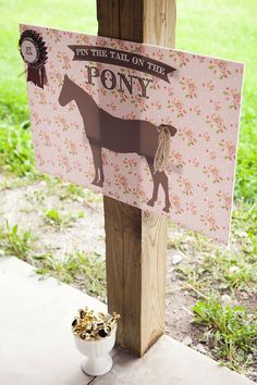 Vintage Pony Party Printable Pin the Tail on the Pony by HHpaperCO