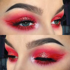 Primer: @benefitcosmetics Air Patrol and @colourpopcosmetics Clique Lippie Pencil as a base for red shadow Shadows: @nyxcosmetics Primal Color in Hot Red and @makeupgeekcosmetics Peach Smoothie and Sparkler in Halo Liner: @suvabeauty Hydra Liner in Cherry Bomb and @nyxcosmetics Vicid Brights in Vivid Fire Lashes: @shopvioletvoss Vamptress Glitter: @starcrushedminerals Sparkling Champagne Brows: @anastasiabeverlyhills Medium Brown Dipbrow