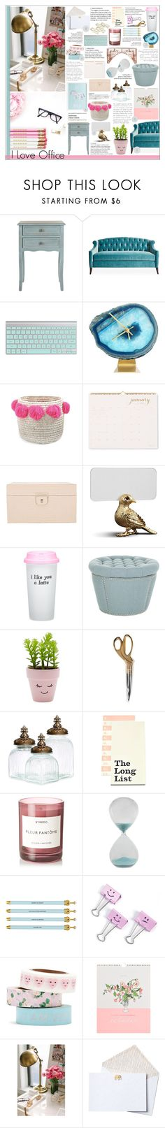 """""""Pink & Blue Office"""" by honey-beans-xo ❤ liked on Polyvore featuring interior, interiors, interior design, home, home decor, interior decorating, Safavieh, Kristin Drohan Collection, Gaudì and Sugar Paper"""