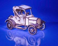 3D Retro Ford eco wood puzzle with the rotating wheels and free personalisation
