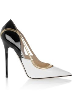 Jimmy Choo ~ Viper Patent Leather Pumps, Black+White w Gold Accents 2015.  Breathtaking heel ...