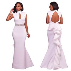 Mermaid Maxi Dress Women 2017 New Turtleneck Backless Special Occasion Prom  Gowns Formal White Long Dress Evening Party Dresses b928e39bf719