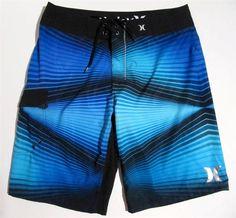 Hurley Surf Boardshorts Sz 32 Elec Blue Aqua Black Swim Trunk $27.99 #HurleyBoardshorts