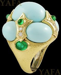 DAVID WEBB Cabochon Turquoise, Emerald and Diamond Ring