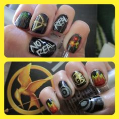 #HungerGames #NailArt Right hand: fire, book cover grey circles and mockingjay. Left hand: bow and arrow, flowers for Rue, the woods for Gale, Real/Not Real for Peeta.