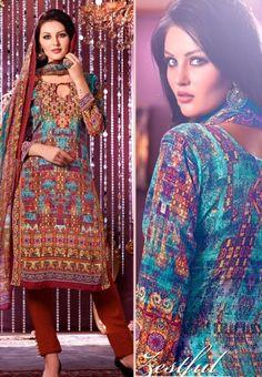 #Vaishali Digital Delight Print #Crepe #SalwarKameez Suit 1006 #Blue