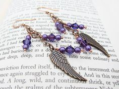 Vintage Inspired Copper Angel Wings with Purple by TheTripleJewel, $20.00