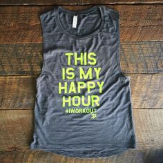 Etsy Sale New Item!! HAPPY HOUR Muscle Tee in Grey/Chartreuse,Workout Top, Muscle Tank