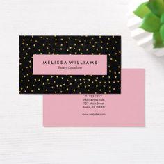 #makeupartist #businesscards - #Modern Black Pink Gold Confetti Business Card