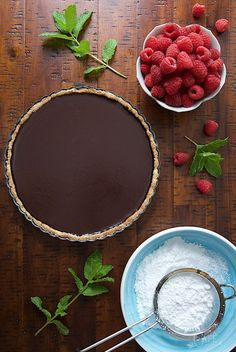 """French Chocolate Tart with Brown Butter Crust - the real deal! It's super simple, super decadent, authentically French and probably the best chocolate dessert you""""ll ever meet!"""