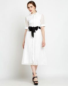 Buy Online White Lace Net Knotted Shirt Sleeve Designer Midi Dress in India at Best Prices White Dresses. Revamp your wardrobe with our Cotton Dresses, Shirt Dresses, Check Dresses, Denim Dresses & T Shirt Dresses Midi Dresses Online, Dress Online, White Lace, White Dress, Knotted Shirt, Midi Shirt Dress, Check Dress, Cotton Dresses, Designer Dresses