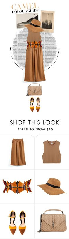 """""""Camel"""" by shica-du ❤ liked on Polyvore featuring Úna Burke, River Island, Gianvito Rossi, Yves Saint Laurent, Zara, women's clothing, women's fashion, women, female and woman"""