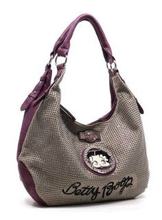 Betty Boop Purple All over Rhinestone Canvas Shoulder Bag