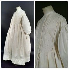 Civil War Era Bishop Sleeve Maternity Gown w Eyelet Trims #civilwar #antiquedress #1860s