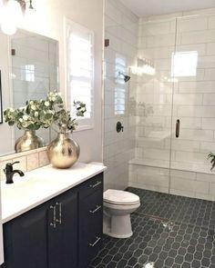 Trendy Bathroom Shower Tile Design Black And White Ideas White Bathroom, Modern Bathroom, Small Bathroom, Master Bathroom, Dyi Bathroom, Bathroom Showers, Black Bathroom Floor, Home Depot Bathroom, Tile Showers