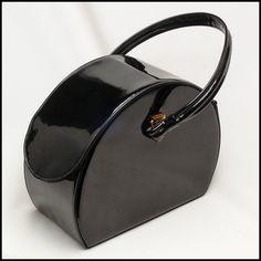 Sultry black patent vintage hat box handbag, purse, bag, hand bag