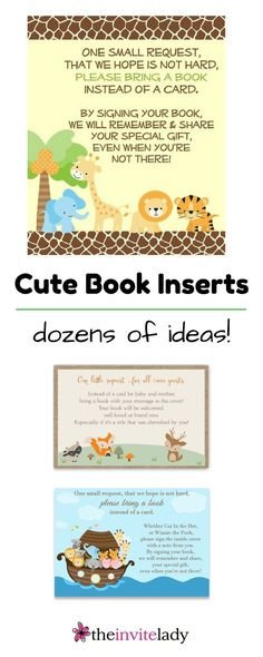 Book Inserts for your Jungle Baby Shower. Find safari baby shower theme stationary, cards, invites, games and book inserts in our baby shower invitation shop.