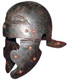 Roman helmet, sub-type Weisenau/Guttmann (classification by Marcus Junkelmann), completely preserved. Soldier Helmet, Helmet Armor, Arm Armor, Roman Helmet, Roman Armor, Iron Bowl, Ancient Armor, Roman Soldiers, Military Equipment