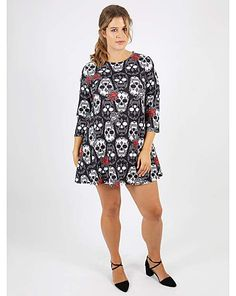 Koko Monochrome Skull Print Swing Dress