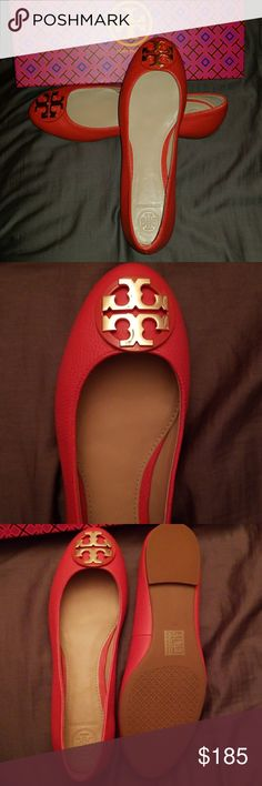 Tory Burch Claire ballet flats size 7.5 New with box Tory Burch Claire ballet flats Samba orange color  Size 7.5 Never been worn Tory Burch Shoes Flats & Loafers