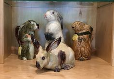 3 French Majolica bunnies with a terra-cotta bunny by Bavent of Normandy
