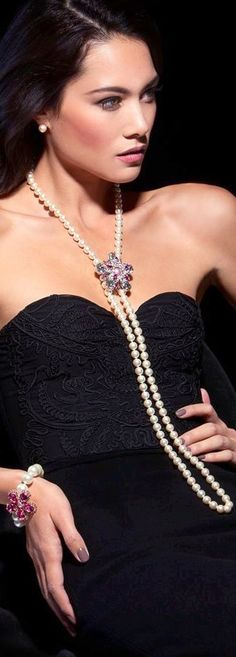 Luxury fashion and glamour | pretty woman in little black dress with pearls strand necklace and diamonds enhancer with coordinating bracelet | thejewelryhut