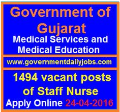 GUJARAT GOVT RECRUITMENT 2016 APPLY ONLINE FOR 1494 STAFF NURSE POSTS ~ Government Daily Jobs